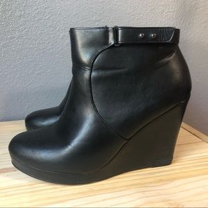 Black Leather Wedge Booties